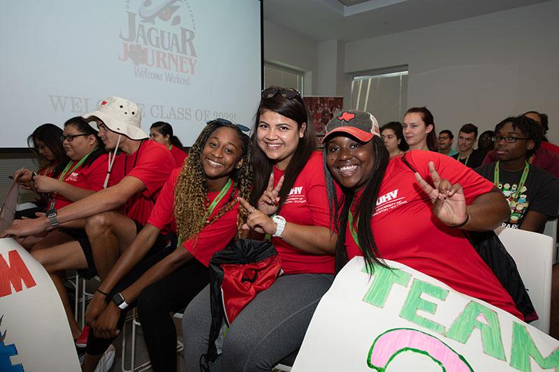 Students pose for a quick picture at UHV Jaguar Journey Kickoff event.