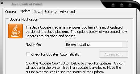 Java Disable Auto Updates screen shot