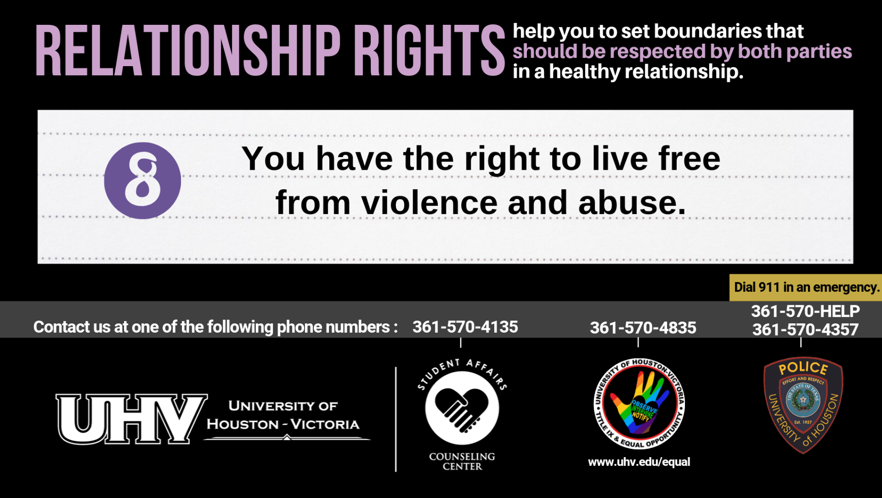 Relationship Rights help you to set boundaries that should be respected by both parties in a healthy relationship. 8. You have the right to live free from violence and abuse. University of Houston-Victoria Title IX and Equal Opportunity Logo (rainbow hand with heart insert with words Observe, Intervene, Notify).