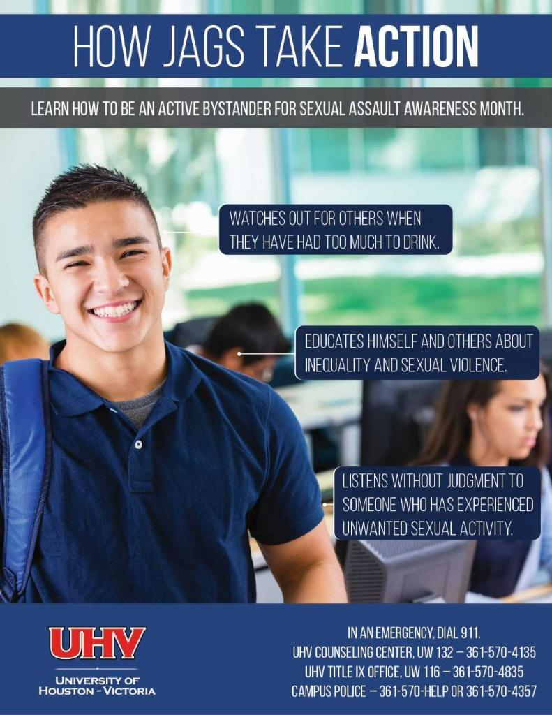 Poster on How Jags Take ACTION: Learn how to be an active bystander for sexual assault awareness month. Image featuring male student with students in computer lab in background and sample of tips to prevent sex-based violence along with information about campus services.