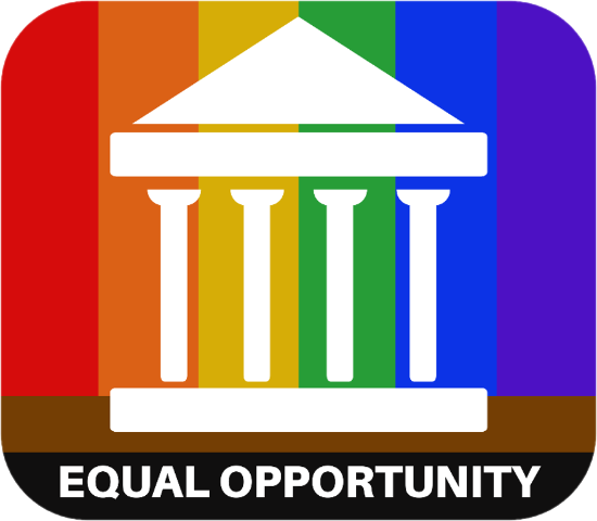 Equal Opportunity icon of administrative building with rainbow background and black and brown foundation bars.
