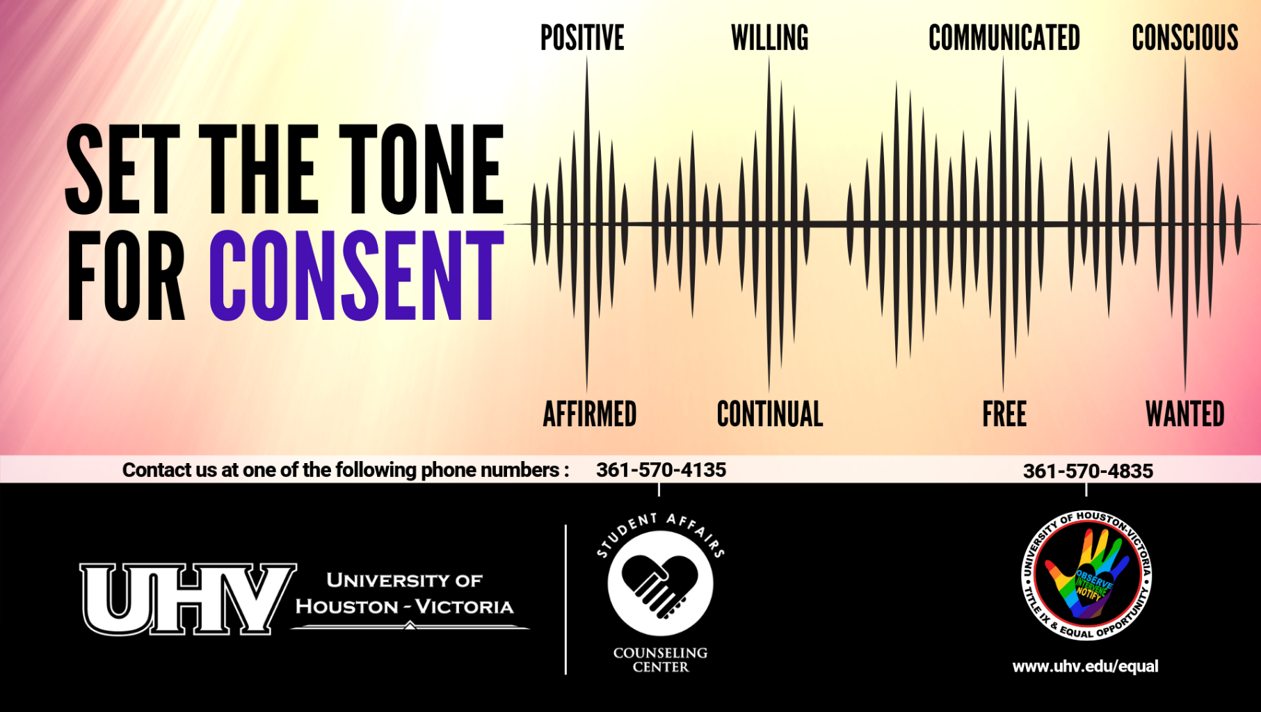 Consent poster and resources showing sound bar and