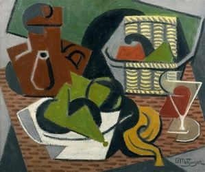 Abstract painting of a picnic