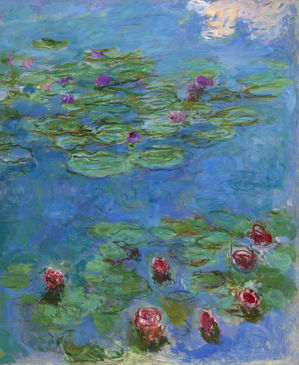 Painting of green and purple water lilies